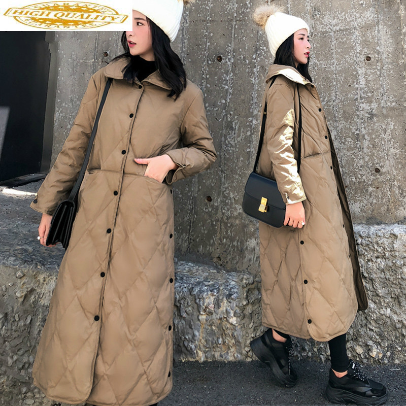Long White Duck Down Jacket Women Down Coat Winter Womens Jackets 2020 Fashion Parka Puffer Jacket KL-1010 YY1207