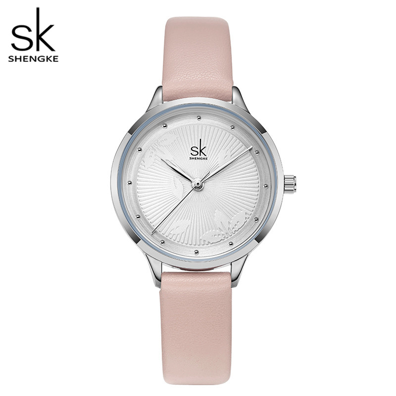 Shengke New 2020 Watch Women Pink Leather Circle Rivet Dial 4 Colors Japanese Quartz Watch Reloj Mujer Light Casual Watch Gift