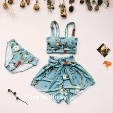 Bikinis Top Hot Sale Women Print Sen Female Wind Show Thin Cover Flesh Temperament Swimsuit Without Steel Ring Three Sets(China)