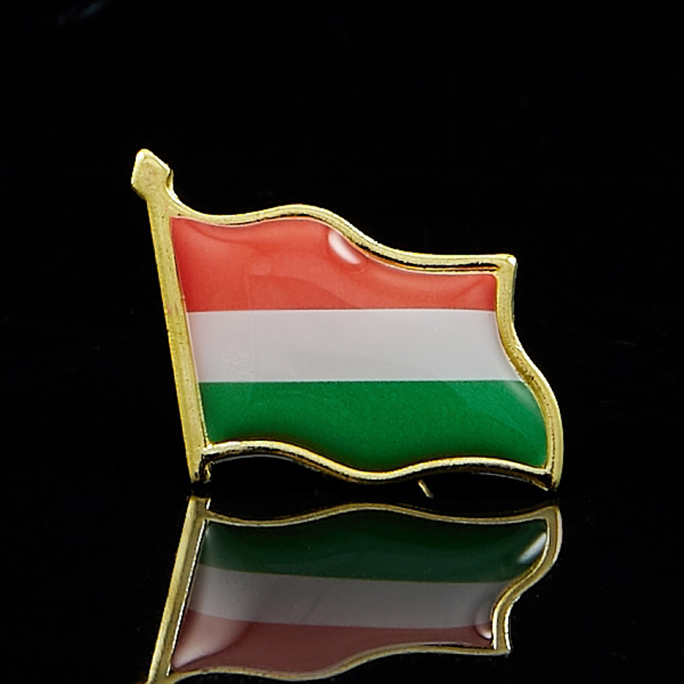 Hungary National Flag Gold Plated Courtesy Enamel Lapel Pin Badge