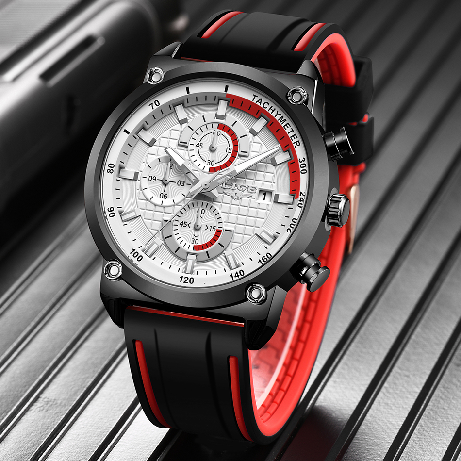 He2848802268b44009d7b460a613b8e0f4 New Top Fashion Chronograph Quartz Men Watches LIGE Silicone Strap Date Wristwatch Clock Male Luminous Watch Relogio Masculino