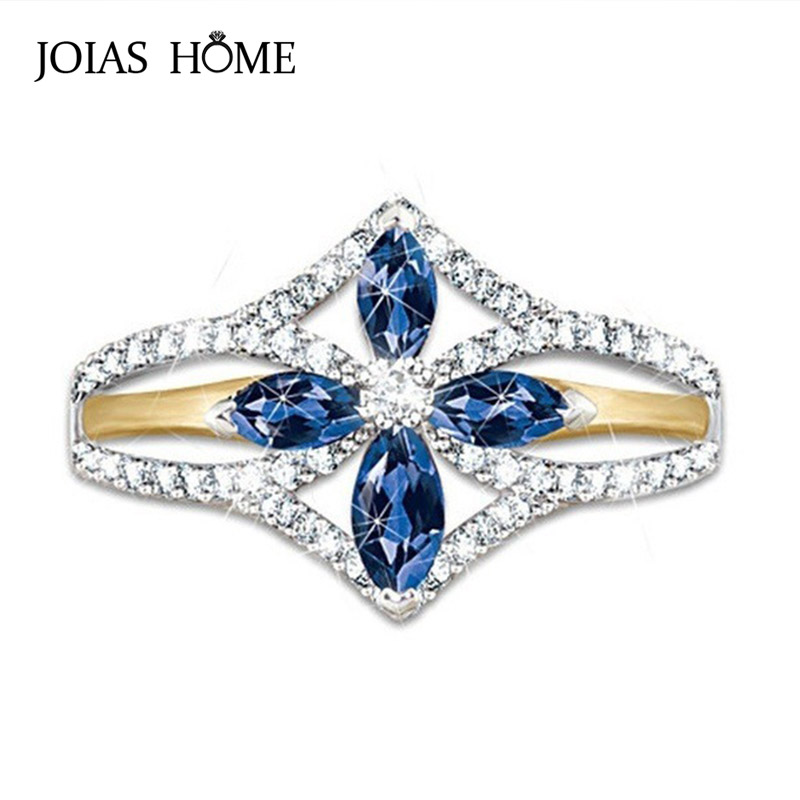 JoiasHome 925 sterling silver ring classic blue gemstone with clover gold two-tone ring women wedding gift size 6-10