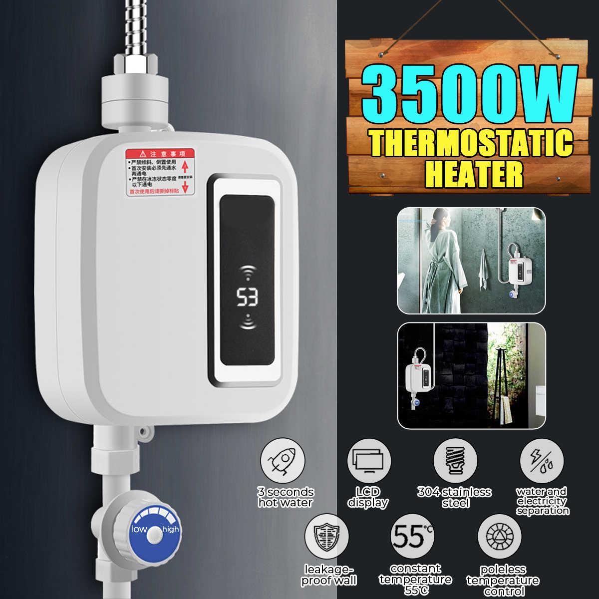 3500W chauffe-eau salle de bains cuisine instantanée chauffe-eau électrique robinet température LCD affichage robinet douche sans réservoir