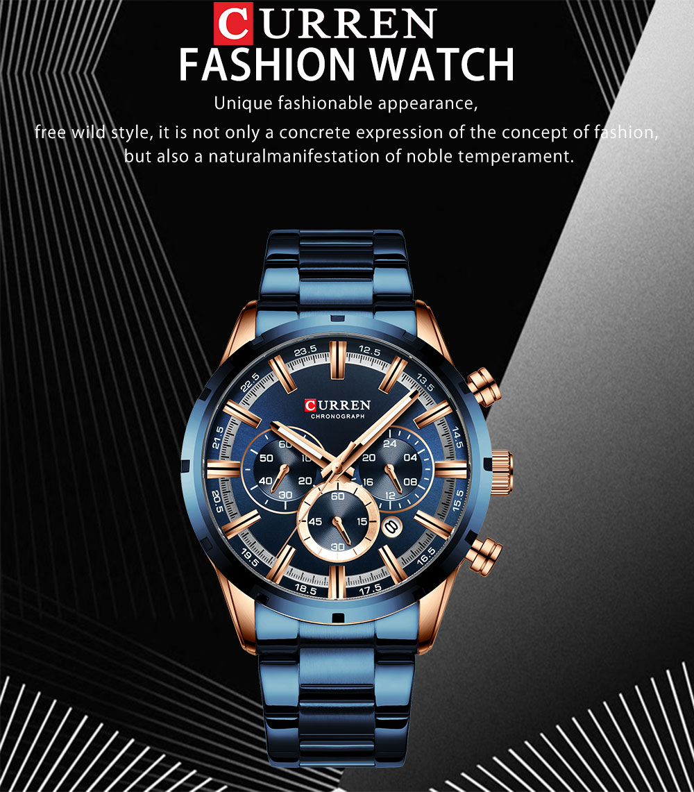 He284bbc4648740bf8f4c84964308695dH CURREN New Fashion Mens Watches Quartz Chronograph
