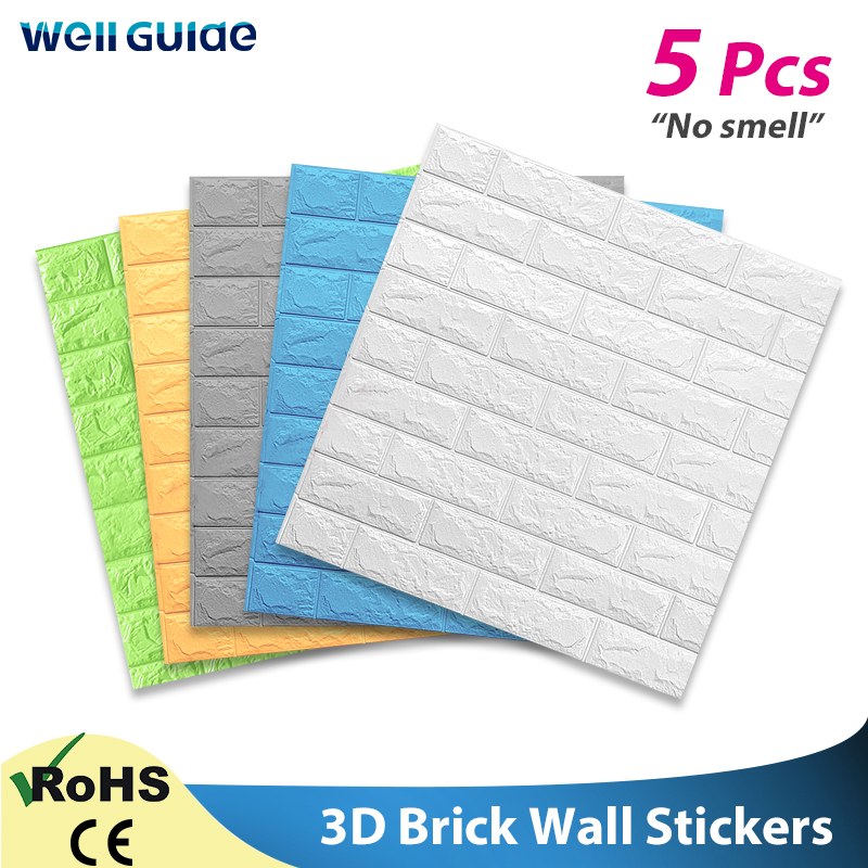 Wall Paper 3D Self-Adhesive Brick Marble Imitation Embossed DIY For Kids Room Kitchen Bedroom Waterproof Sticker 3D Wallpaper