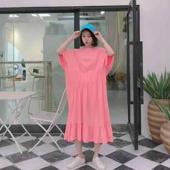 XITAO Pleated Plus Size Dress Fashion Pullover Goddess Fan 2020 Summer Goddess Fan Minority Casual Style Loose Dress GCC3517 5
