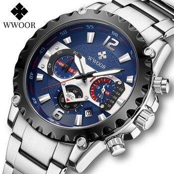WWOOR Wristwatch Mens Stainless Steel Quartz Sport Clock Male Top Brand Luxury Military Waterproof Multifunction Watches For Men