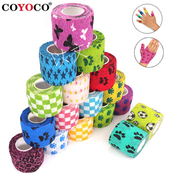1 pcs Printed Medical Self Adhesive Elastic Bandage 4.5m Colorful Sports Wrap Tape for Finger Joint Knee First Aid Kit Pet Tape 1