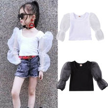 Toddler Kid Baby Girl Clothes Long Lace Puff Sleeve Top Solid T Shirt Summer See Through Streetwear Clubwear Boho Beach Vestidos