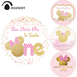 Allenjoy Princess Round Backdrop Mini Mouse Dots Happy Birthday Circle Photozone Banner Baby Shower Girl Event Party Background