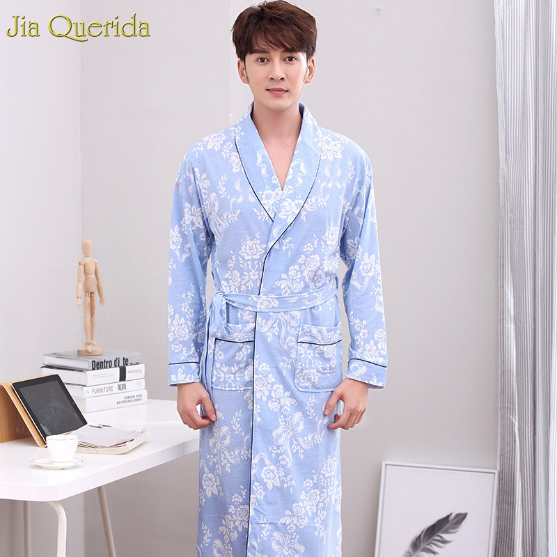 Men's Robes Bathrobe Men Kimono Breatheable 100% Cotton Blue Flower Print Design Loose Size Belt Pocket V Neck Long Lingeriewear