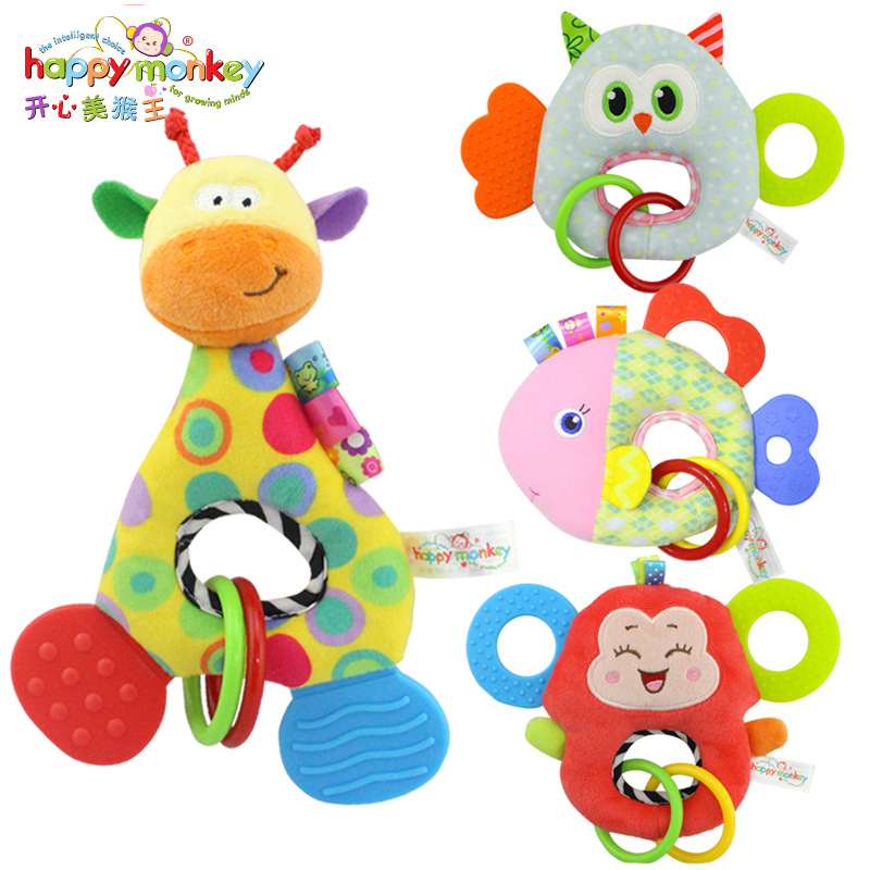 Happy Monkey New Bark Gum BB Dolls Baby Toys Newborns Creative Plush  Hand Bell WJ458