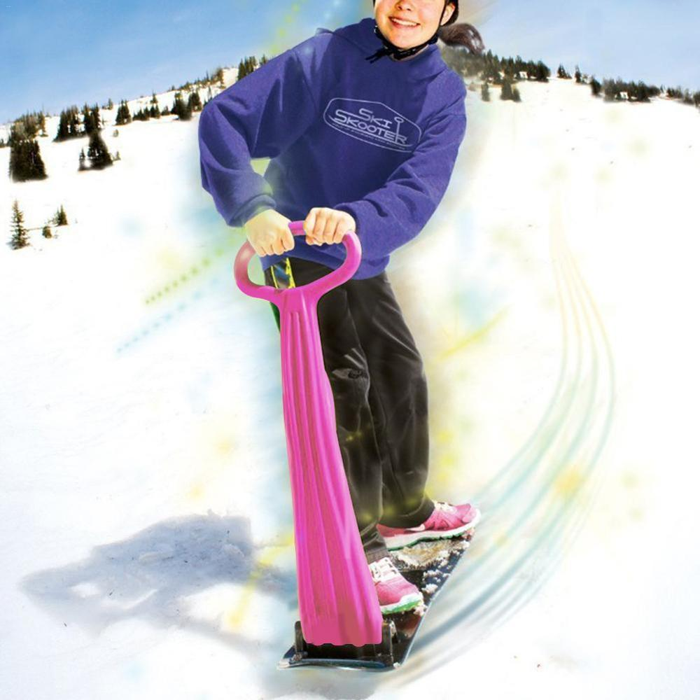 Adult Children Outdoor Skiing Snowboard Veneer Folding Scooter Snow Sled Grip Handle Winter Playing Snow Equipment