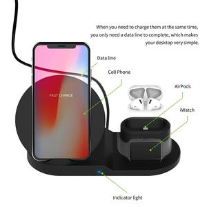 Image 4 - 3in1 チーワイヤレス急速充電器ドック用スタンド airpods 時計 4 3 iphone 8 x xs 最大 xr 10 35w クイック充電 S9 S8 S7