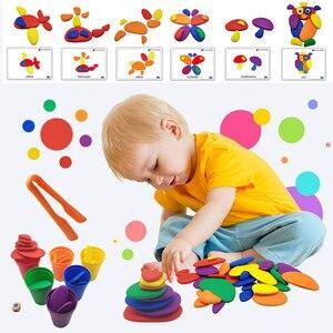 Дети Монтессори Радуга галька цвет сортировки укладки камней креативные игрушки Детские сенсорные игрушки Монтессори сенсорные материалы