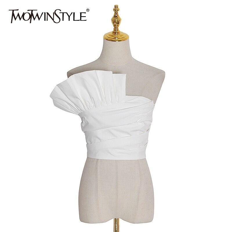 TWOTWINSTYLE Sexy Irregular Party Blouse Women Slash Neck Sleeveless Tunic Slim Ruffles Shirt Female Fashion 2020 Clothing Tide