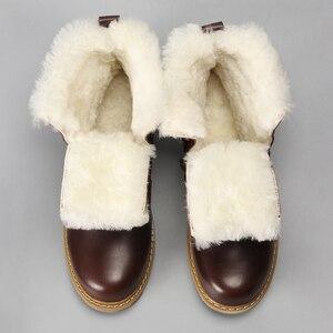 Image 2 - 天然ウールの冬のブーツ男性暖かい牛革冬 # YM008