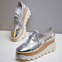 fashion sneakers women lace up genuine leather wedges high heel vulcanized shoes female square toe platform pumps casual shoes Fashion Sneakers Women Lace Up Genuine Leather Wedges High Heel Vulcanized Shoes Female Square Toe Platform Pumps Casual Shoes