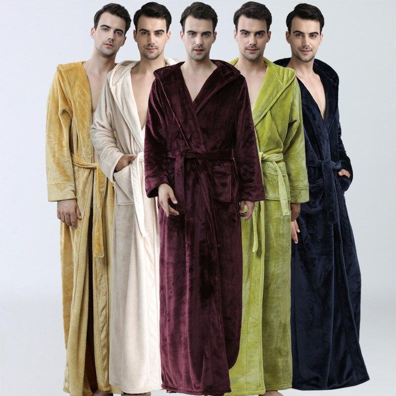 Nouveaux hommes hiver Extra longue à capuche épaisse flanelle chaude Robe de bain mâle Robe de chambre thermique peignoir femmes hommes de luxe Kimono Robes