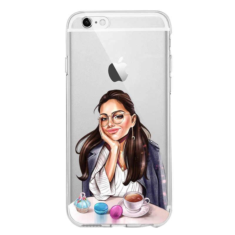 女神流行アート王女女の子女性 boss コーヒーソフトシリコン TPU 電話ケース iphone 5S 、 SE 6 6s7 8 プラス X XS XR XS 最大