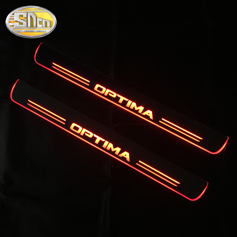 SNCN 4PCS Car LED Door Sill For <font><b>Kia</b></font> Optima K5 2011 - 2018 2019 Ultra-thin Acrylic Dynamic LED Welcome Light Scuff Plate Pedal image