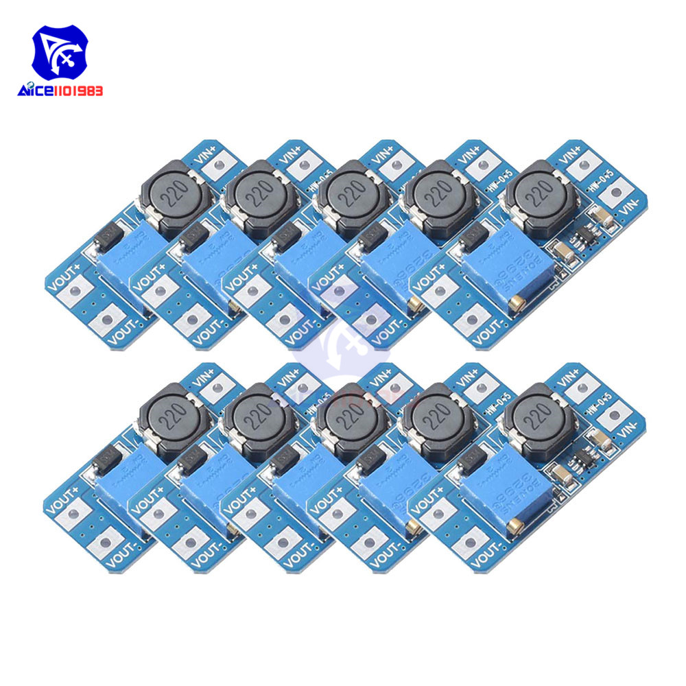 Diymore 10PCS/Lot MT3608 DC -DC DC 2 -24V To 5V-28V 2A Step Up Boost Converter Power Supply Module With Adjustable Trimpot