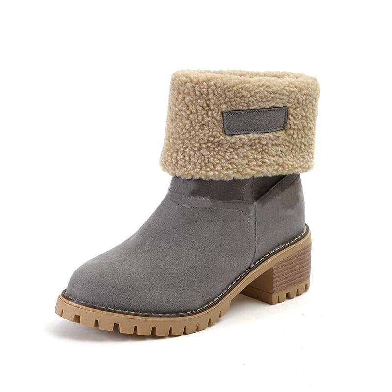 여성 캐주얼 패션 따뜻한 눈 겨울 발목 부츠 광장 하이힐 플랫폼 신발 여성 botas zapatos 드 zapatillas mujer-에서앵클 부츠부터 신발 의  그룹 3