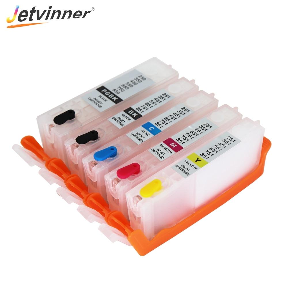 Jetvinner в ассортименте имеются 5 расцветок 650 651 перезаправляемый картридж для hp Canon принтерам PIXMA iP7260, MG5460, MX726, MX926, IX6860, IP8760, MG5560 принтеры