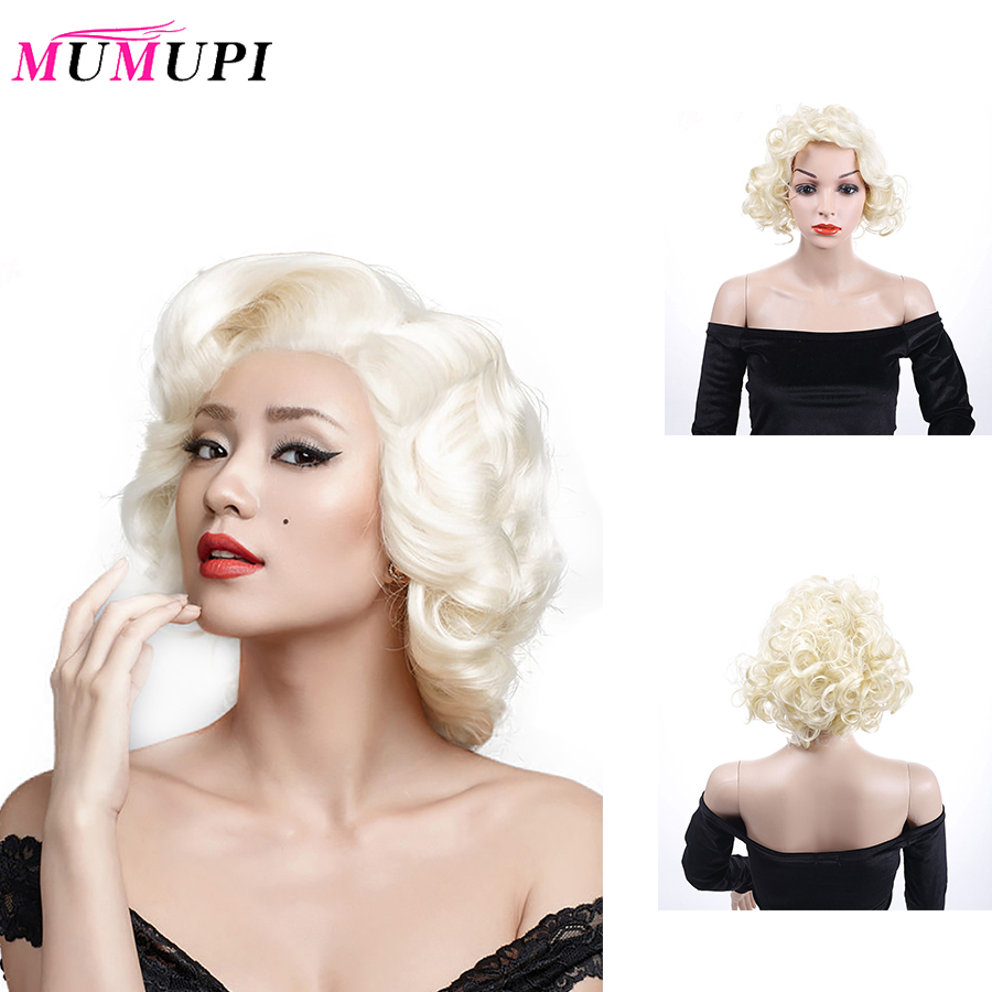 MUMUPI Beauty Makeup Women's Fashion Short White Marilyn Monroe Wigs Heat Resistant Synthetic Wig Short Curly Hairstyle