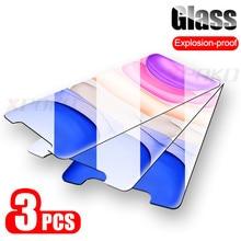 3 قطعة HD الزجاج المقسى آيفون 6 6s 7 8 Plus X XS ماكس واقي للشاشة فيلم آيفون 11 برو ماكس XR 11pro حماية الزجاج