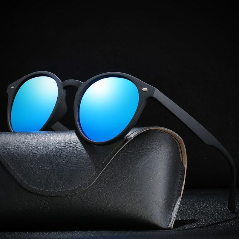 Óculos de sol polarizado unissex, óculos de sol redondo para direção proteção uv400