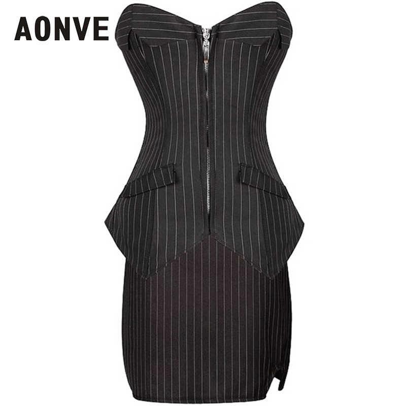 AONVE Korsett Schwarz Zipper Korsetts Und Bustiers Mit Rock Sexy Gothic Kleid Plus Größe Mieder Zwangsjacke Frauen Overbust Korse