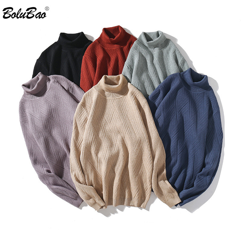 BOLUBAO Winter Men Casual Sweaters New Male Warm Solid Color Long-Sleeved Pullover Sweater Slim High-Neck Sweater Men's