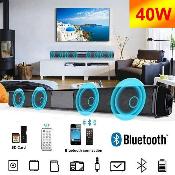 2020 Nuovo 40W Super-Potenza Senza Fili di Bluetooth Soundbar Speaker TV Home Theater Soundbar + Telecomando