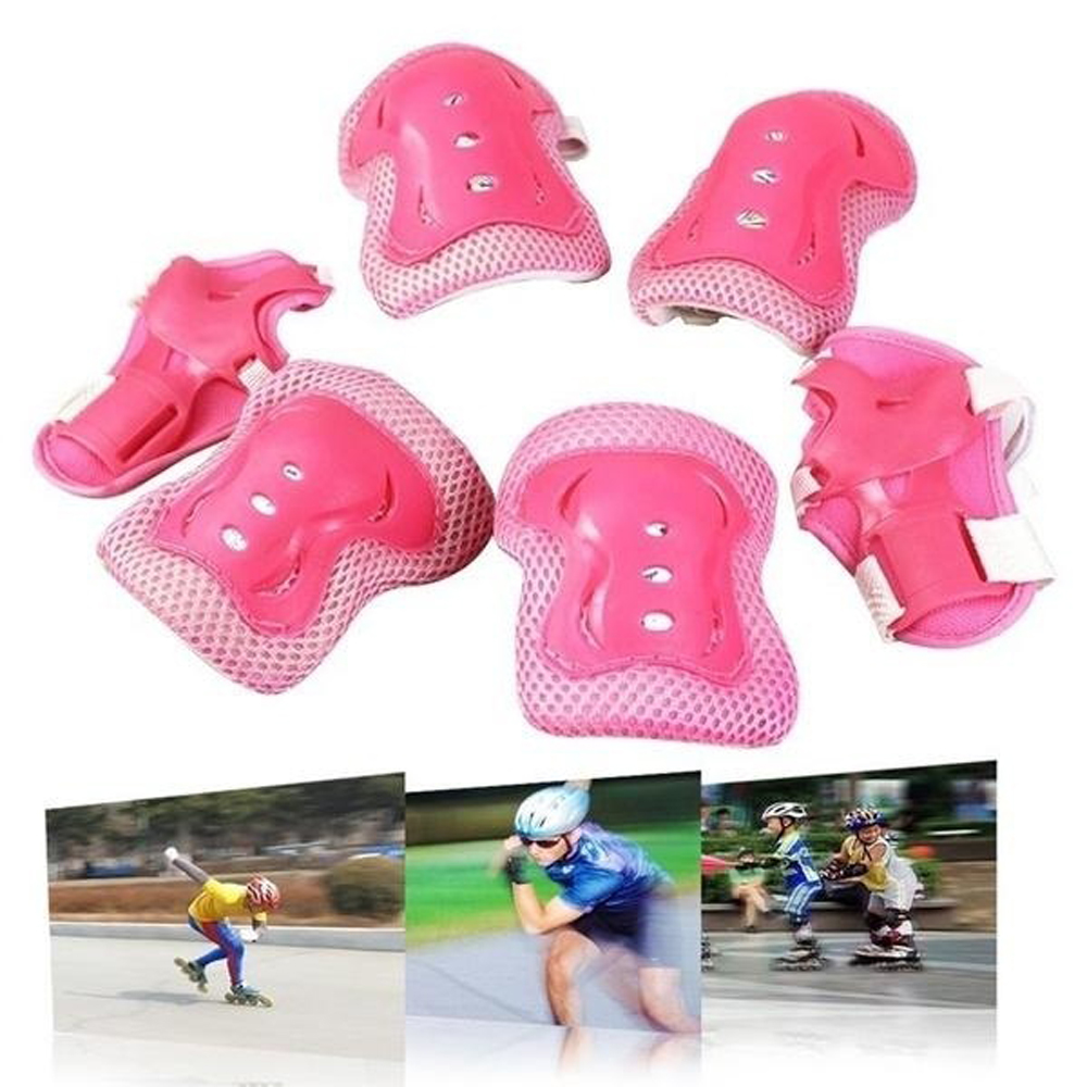 6pcs/Set Kids Children Outdoor Sports Protective Gear Knee Elbow Pads Riding Wrist Protective Guards Roller Skating Cycling Bike