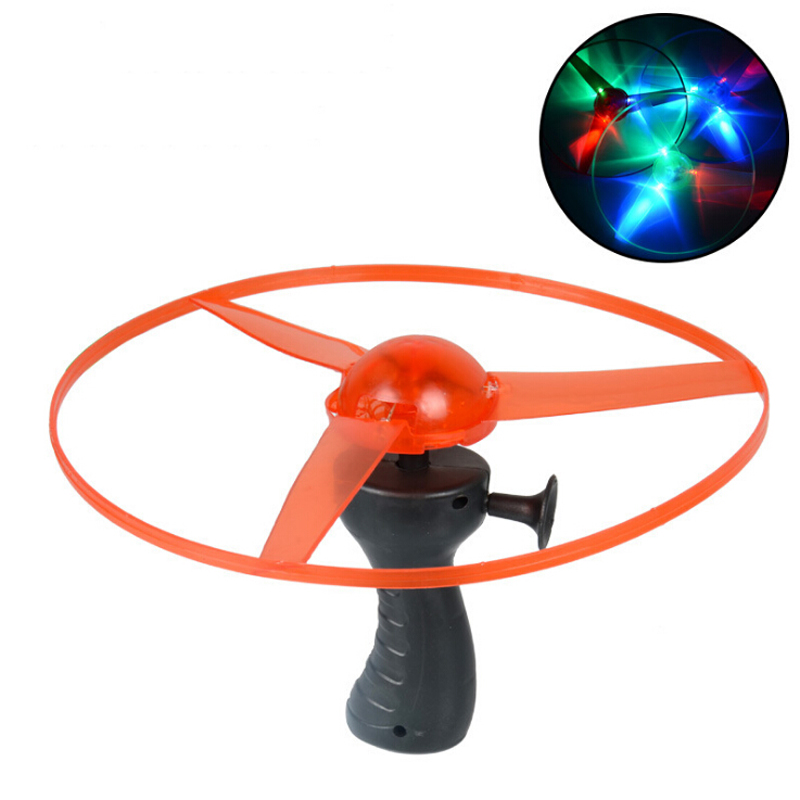 Funny Spinning Flyer Luminous Flying UFO LED Light Handle Flash Flying Toys for Kids Outdoor Game Color Random