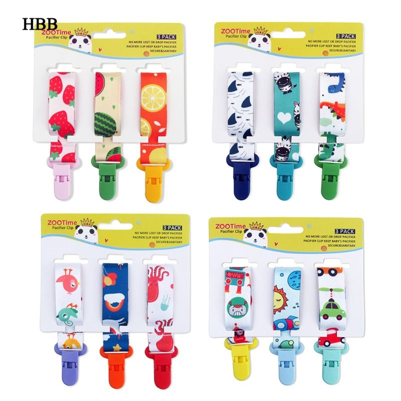 3pcs Dummy Clips Baby Pacifier Clips 3 Pack Pacifier Holder Straps For Girls Plastic Teething Clips Modern Unisex Design