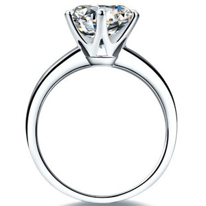 Image 3 - QYI כסף 925 טבעות נשים אירוסין כסף טבעות עגול מדומה יהלומי מאוד מבריק מתנה לחתונה טבעת אבן גודל 1/1.5/2/3 ct