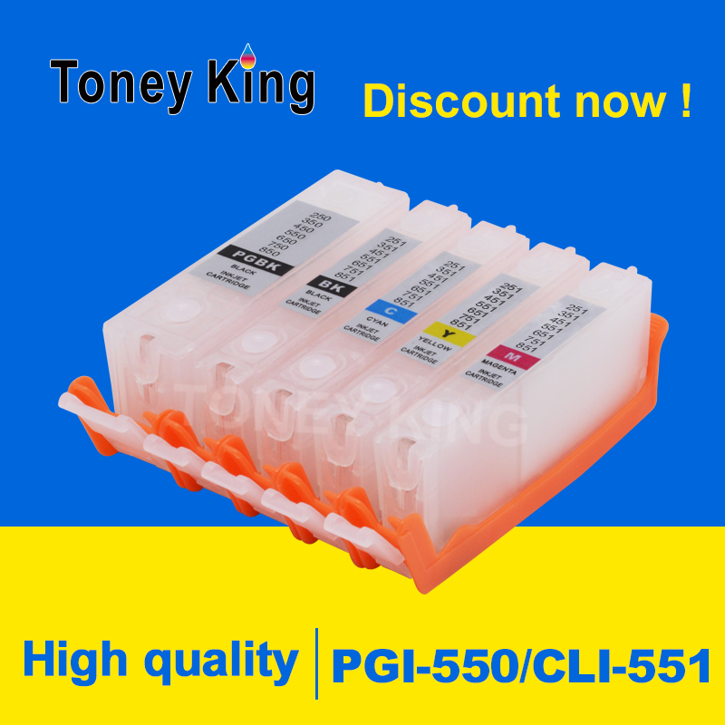 Тоней Кинг PGI-550 CLI-551 многоразового картридж для принтера Canon PIXMA MG5450 MG5550 MG5650 MG6350 MG6450 MG6650 MG7150