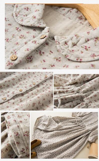 Soft Cotton Yarn Drawstring Peter Pan Collar Long Sleeve Floral Dress 3