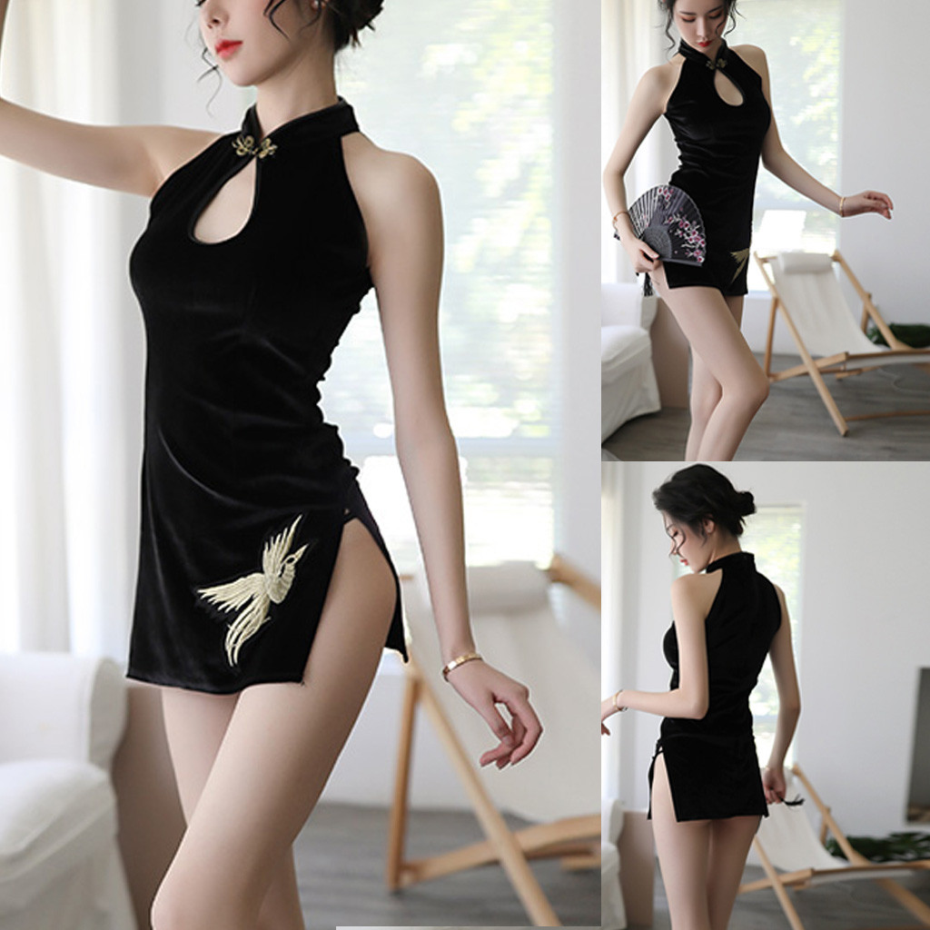 Women Erotic Costumes <font><b>Sexy</b></font> Lingerie Floral Embroidered Velvet Cheongsam <font><b>Babydoll</b></font> <font><b>Sexy</b></font> Underwear Porno Hollow Mini <font><b>Dress</b></font> Lenceria image
