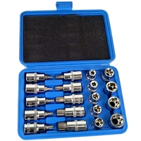 19Pcs Socket Set 1/2 Inch Drive Star Socket Bit Socket Set External E10 E24 Torx T20 T70 Socket Pressure Batch Set