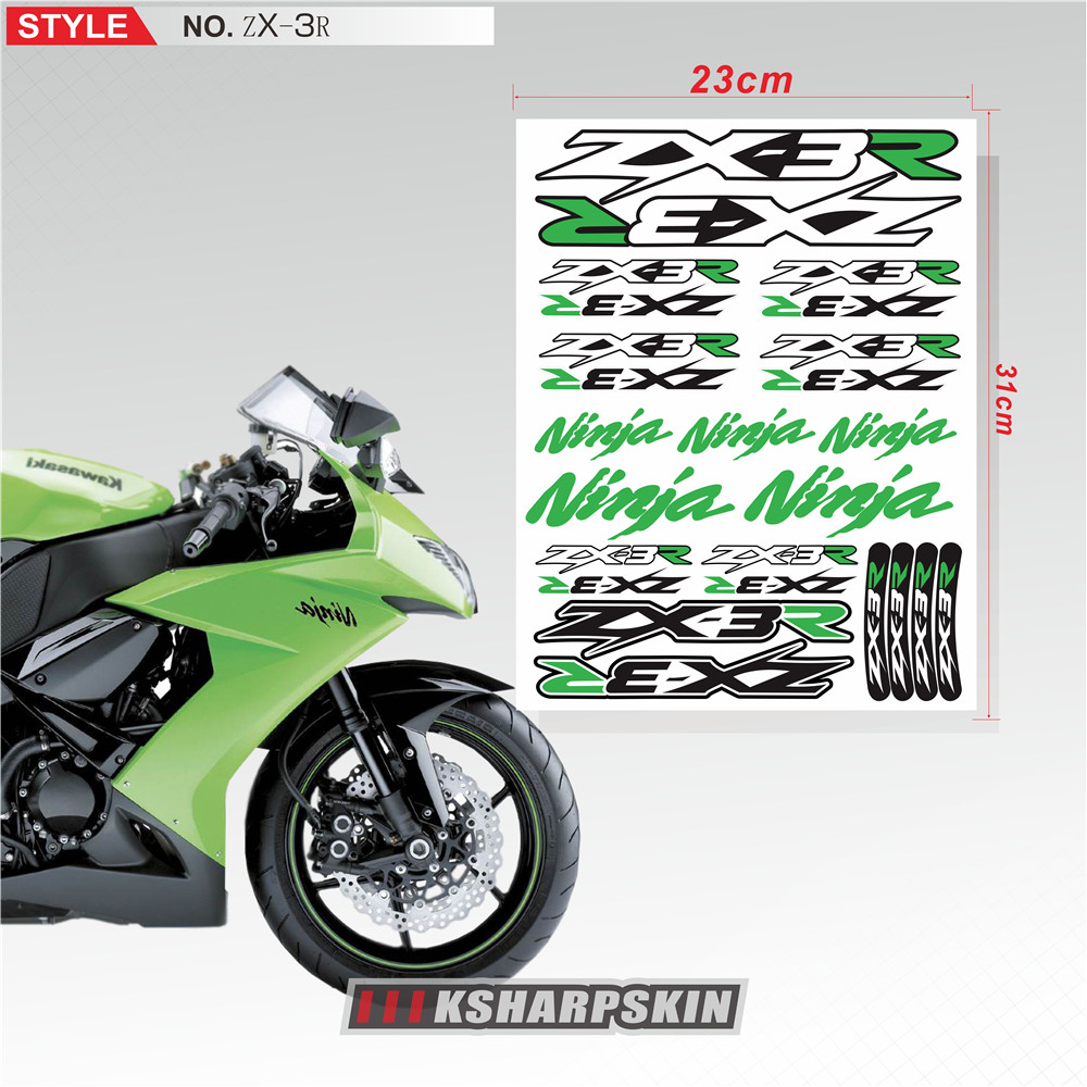 New Motorcycle Reflective <font><b>Sticker</b></font> Body fuel tank <font><b>helmet</b></font> <font><b>Waterproof</b></font> logo decal <font><b>For</b></font> Kawasaki ZX-3R zx3r Ninja Logo <font><b>sticker</b></font> image