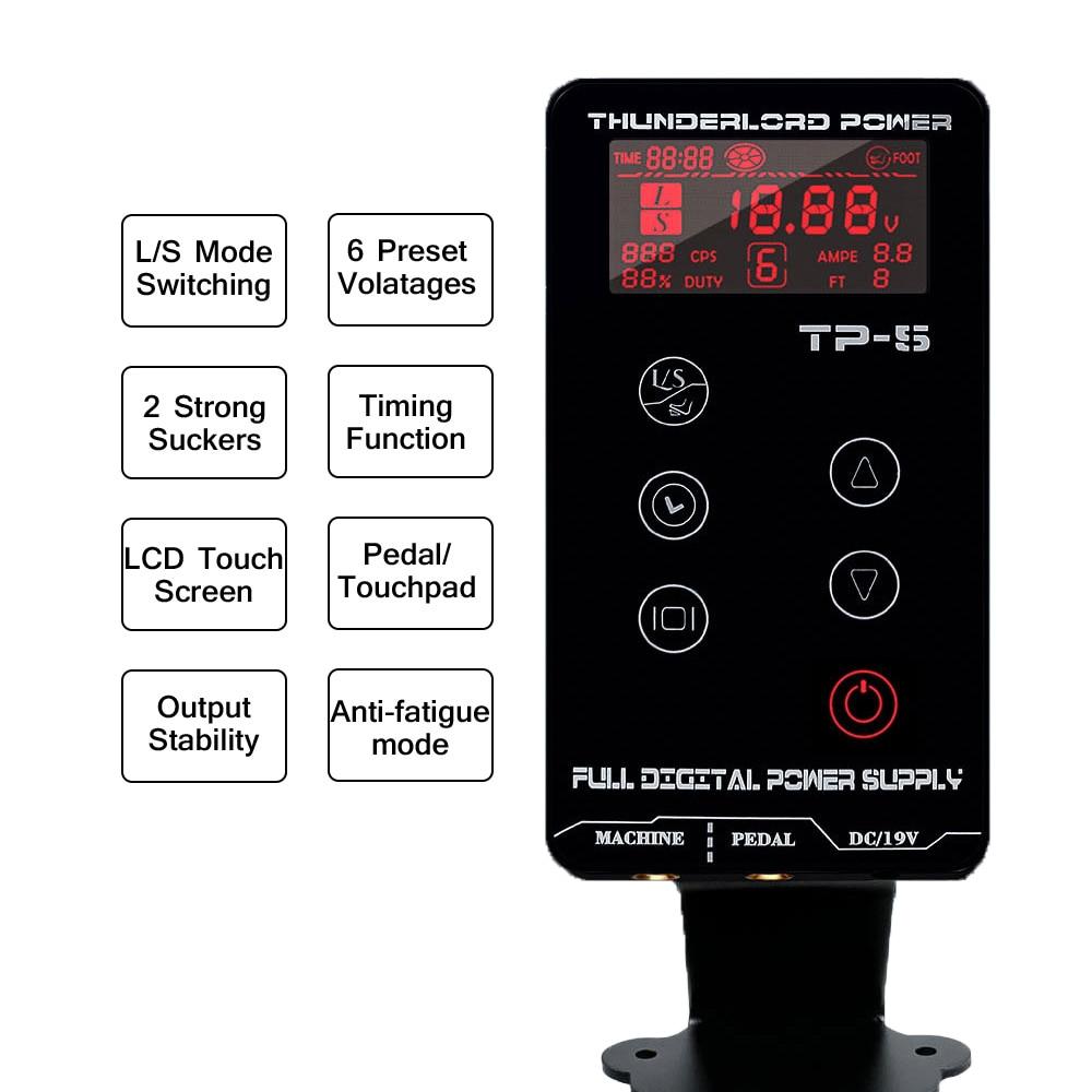 TP-5 Intelligent Digital LCD Touch Screen Tattoo Power Supply For Permanent Makeup Rotary Tattoo Machine Pen Gun Tattoo Supplies