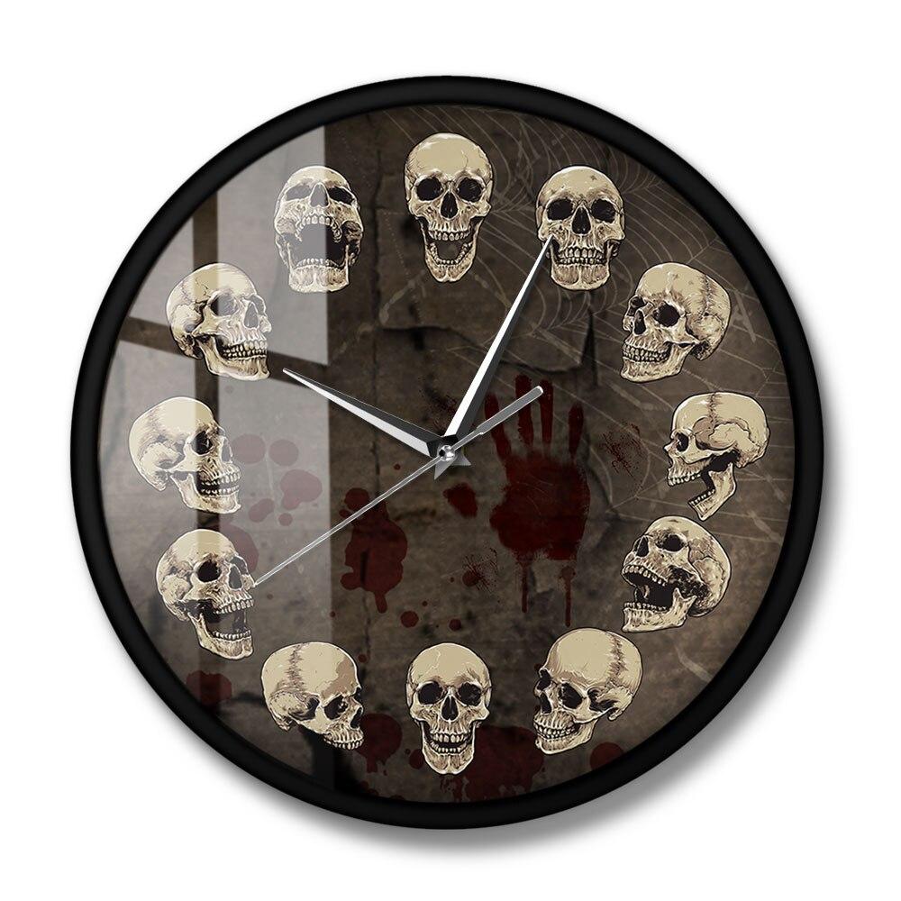 Anatomical Skulls Wall Clock Quartz Silent Non-ticking Hanging Wall Watch Unusual Surreal Skulls Wall Art Halloween Home Decor Just6F