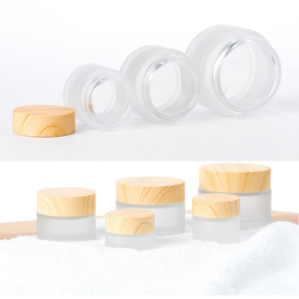 5g 10g 15g 30g 50g Frosted Glass Cream Jar Pot Wooden Grain Lid Beauty Tool Skin Care Container Empty Bottle Packaging Container