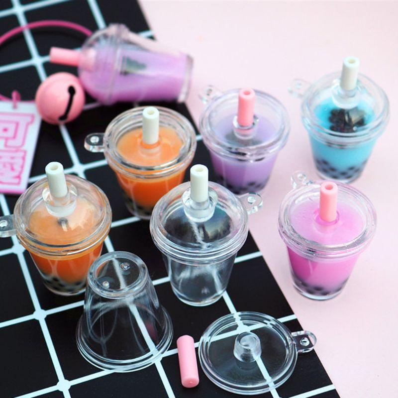 10 pçs mini frappuccino copo de café casa de bonecas simulação em miniatura plástico bolo sorvete copos chaveiro jóias fazendo