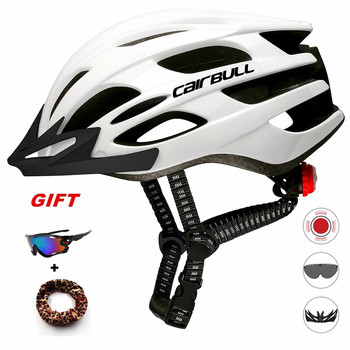 Cairbull Light Cycling Helmet with Removable Visor Goggles Bike Safety Taillight Intergrally-molded Mountain Road MTB Helmets rockbros cycling bike bicycle light helmet removable security light riding bike camping intergrally molded helmet bike equipment