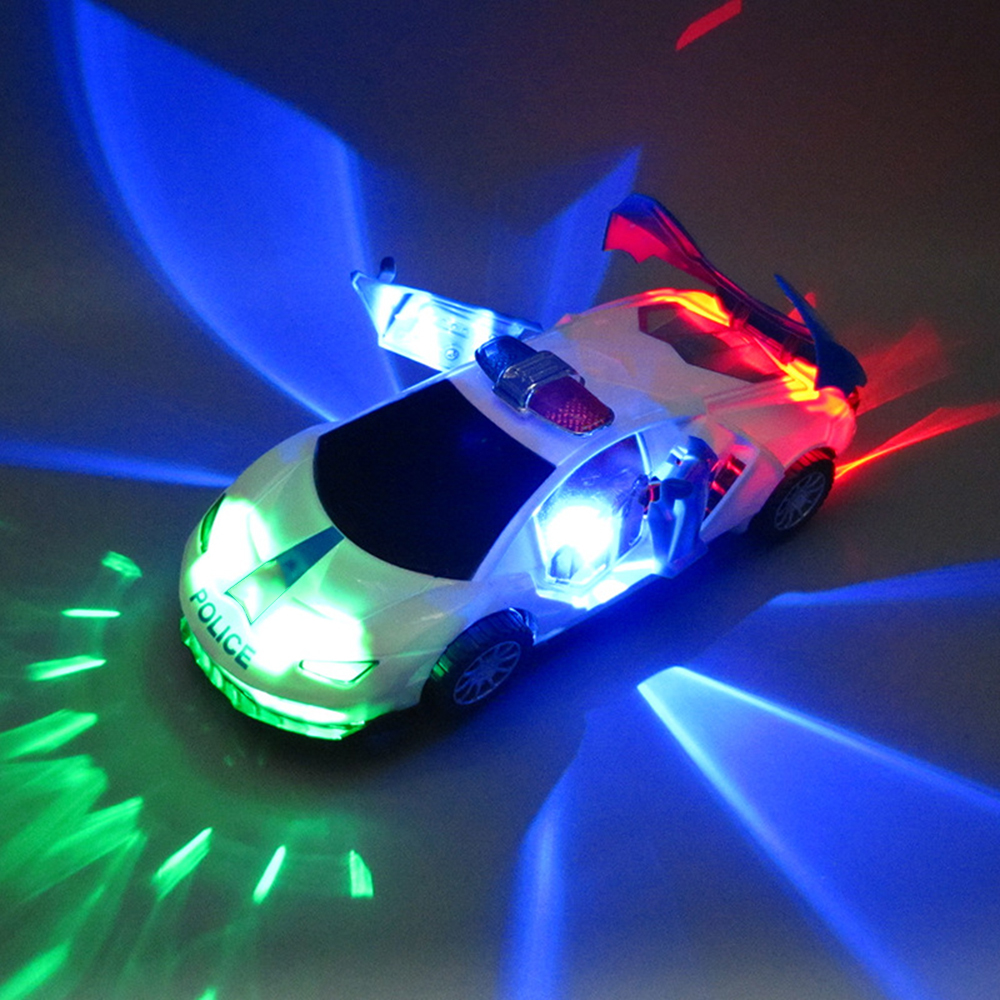 Hot Selling Electric Patrol Wagon Car 360 Degree Rotating Universal Wheel Vehicle LED Light Toys Dropshipping