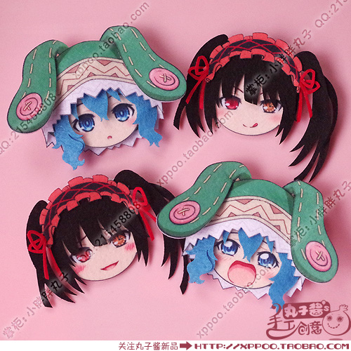 Cute Anime DATE A LIVE Tokisaki Kurumi Yoshino Cosplay Badge Nonwoven Fabric Button Brooch Pin Bedge Gifts